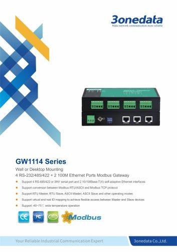 3onedata | GW1114 | 4-port RS-232/485/422 to Ethernet Modbus Gateway