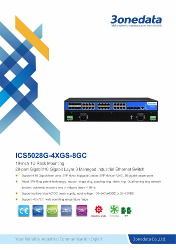 3onedata | ICS5028G-4XGS-8GC | Rackmount | Managed | Layer 3 | 24 ports Industrial Gigabit Ethernet Switch with 4*10G SFP sockets