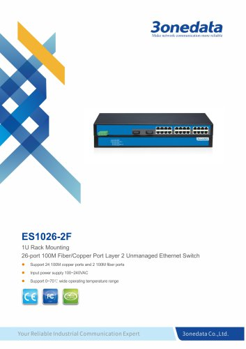 3onedata | IES1026-2F | Unmanaged | Rackmount | 24 ports Ethernet Switch with 2 fiber ports