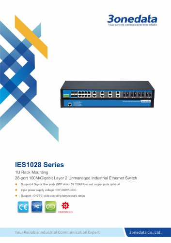 3onedata | IES1028-4GS | Unmanaged | Rackmount | 24 ports Industrial Ethernet Switch with 4 Gigabit SFP sockets