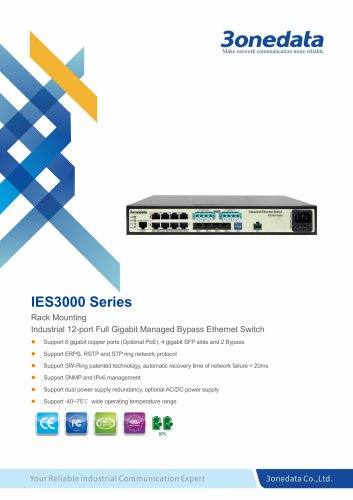 3onedata | IES3000 | Bypass | 12 ports Full Gigabit Industrial Ethernet Switch