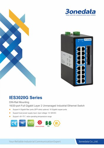 3onedata | IES3020G | Unmanaged | DIN rail | Full Gigabit 16 ports Industrial Ethernet Switch with 4 ports SFP