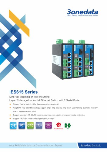 3onedata | IES615 | Managed | DIN rail | 5 ports Industrial Ethernet Switch with 2 Serial ports
