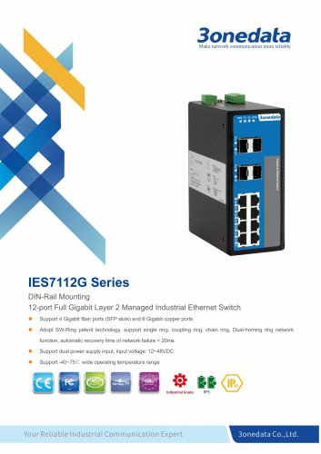 3onedata | IES7112G-4GS | DIN rail | Managed | Gigabit | 8 ports Industrial Ethernet Switch with 4 SFP sockets