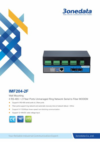 3onedata |  IMF204-2F | 4-port RS-485 to 2-port Fiber Converter