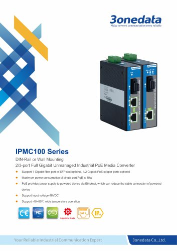 3onedata | IPMC100 | Industrial 2/3-port Gigabit PoE Media Converter