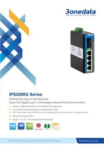 3onedata | IPS2000G | Unmanaged | Industrial 5-port Gigabit PoE Switch