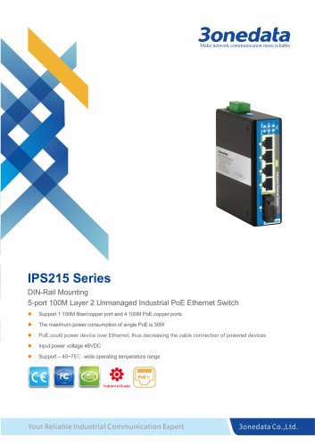 3onedata | IPS215 | Unmanaged | 5 ports Industrial PoE Switch with 4-port POE