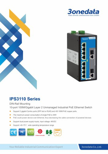 3onedata | IPS3110 | Unmanaged | 10 ports Industrial PoE Switch