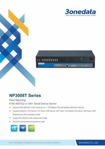 3onedata | NP3008T | 8-port RS-232/485/422 Rackmount Serial Device Server