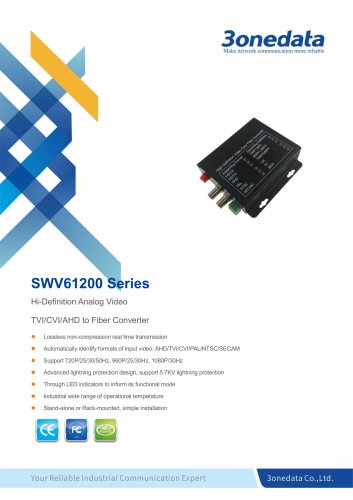 3onedata | SWV61200 | 2-Channel TVI/CVI/AHD Video to Fiber Converter