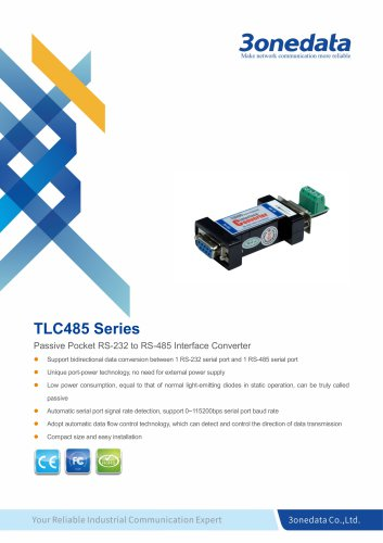 3onedata | TLC485 | Port-powered RS-232 to RS-485 Converter
