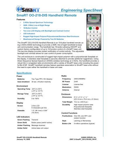 SmaRT OO-218-DIS Handheld Remote
