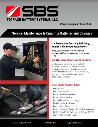 Service, Maintenance & Repair for Batteries and Chargers