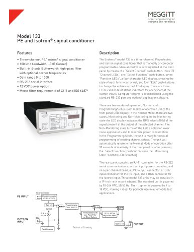Endevco® model 133 piezoelectric and Isotron® signal conditioner