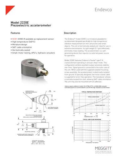Endevco® model 2220E Miniature High Temperature Piezoelectric Accelerometer