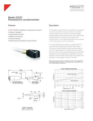 Endevco® Model 2222C Super Miniature Piezoelectric Accelerometer