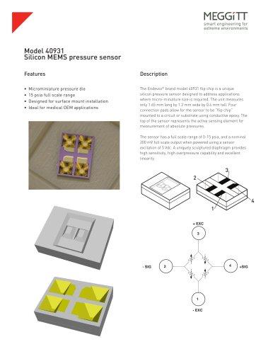 Endevco® Model 40931 Micro-miniature ?Flip-Chip? MEMS Pressure Transducer Die
