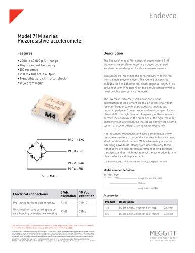 Endevco Model 71M Series Piezoresistive Shock Accelerometers