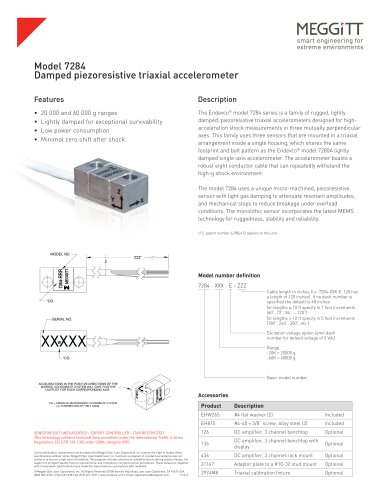 Endevco® model 7284 piezoresistive triaxial accelerometer