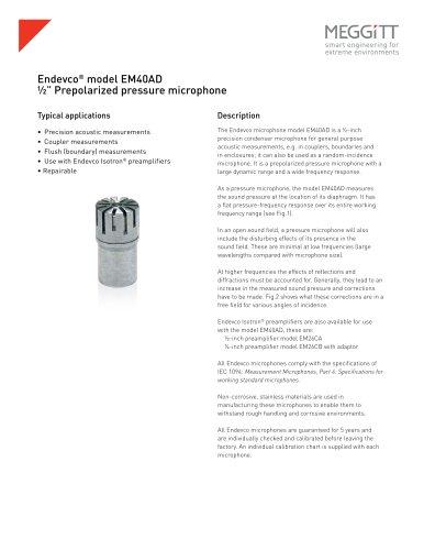 """Endevco® model EM40AD ½"""" prepolarized pressure microphone"""