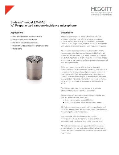 "Endevco® model EM40AQ ½"" prepolarized random-incidence microphone"
