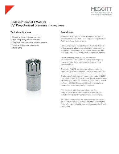 """Endevco® model EM40DD 1/8"""" prepolarized pressure microphone"""