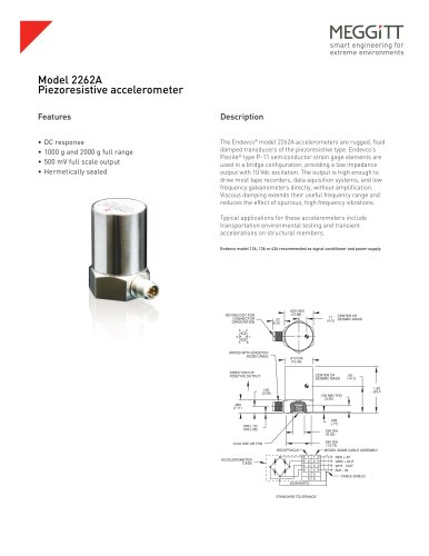 Meggitt Sensing Systems Endevco® model 2262A piezoresistive accelerometers