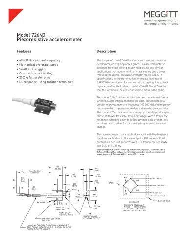 Meggitt Sensing Systems Endevco® Model 7264D very low mass piezoresistive accelerometer