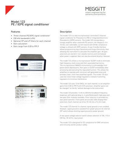 Model 123 PE/IEPE signal conditioner