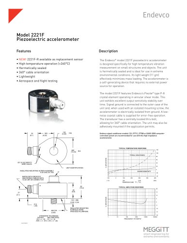 Model 2221F High Temp Piezoelectric Accelerometer