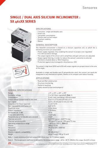 Single / dual axis silicium inclinometer : sx 461XX series