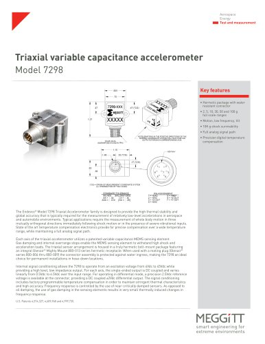 Triaxial variable capacitance accelerometer Model 7298