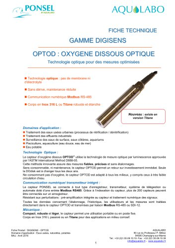 OPTOD : OXYGENE DISSOUS OPTIQUE