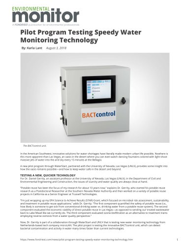 Pilot Program Testing Speedy Water Monitoring Technology