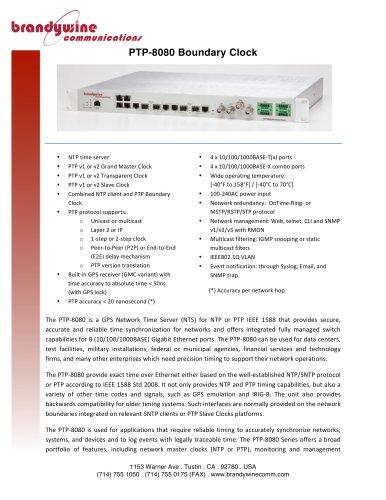 PTP-8080 Boundary Clock - Brandywine Communications - PDF