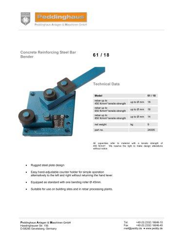 Concrete Reinforcing Steel Bar Bender 61/18