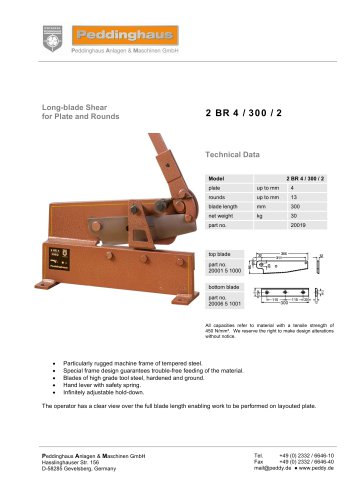 Long-Blade Shear for Plate and Rounds