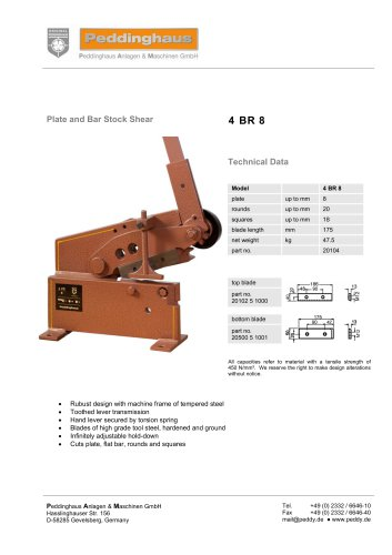 Plate and Bar Stock Shear - 4 BR 8