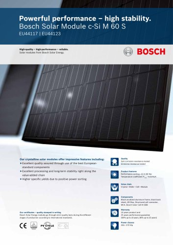 Bosch Solar Module c-Si M 60 S EU44117 I EU44123 (255 - 270 Wp)