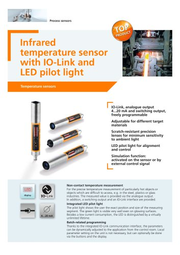 Infrared temperature sensor with IO-Link and LED pilot light