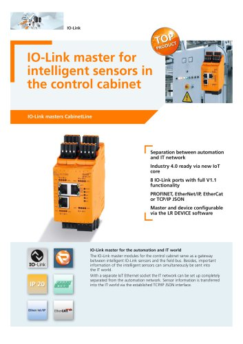 IO-Link master for intelligent sensors in the control cabinet