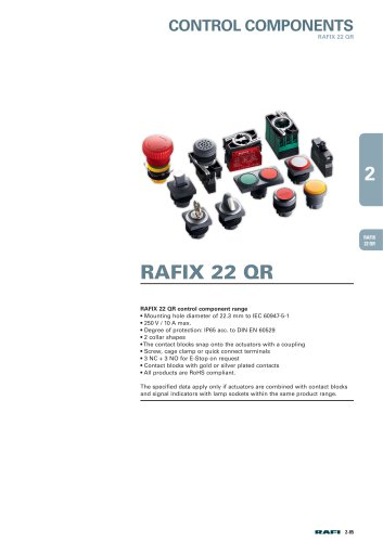"""Chapter 2.2 """"Control Components RAFIX 22 QR"""" from the catalog ?Electromechanical Components 2015?"""