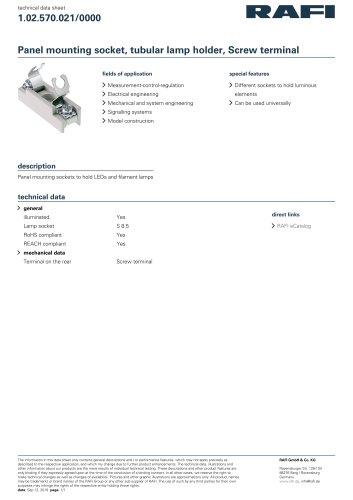 Panel mounting socket, tubular lamp holder, Screw terminal