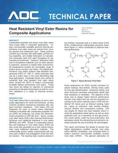 Heat Resistant Vinyl Ester Resins for Composite Applications - AOC
