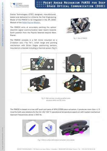 Point Ahead Mechanism PAM30 for Deep Space Optical Communication (DSOC)