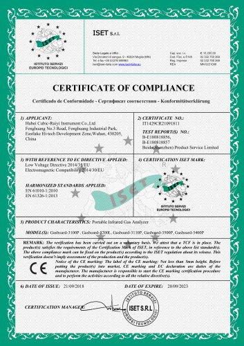 CERTIFICATE OF COMPLIANCE(Online Infrared Gas Analyzer)