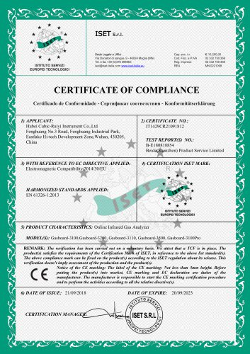 CERTIFICATE OF COMPLIANCE(Portable Infrared Gas Analyzer)