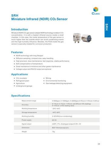 Industrial NIDR CO2 Sensor SRH