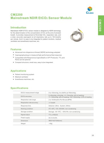mainstream NDIR ETCO2 sensor module